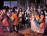 An arranged marriage between Louis XIV of France and Maria Theresa of Spain.