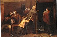 The Outcast, by Richard Redgrave, 1851. A patriarch casts his daughter and her illegitimate baby out of the family home.