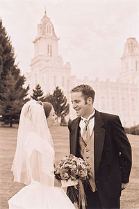 A couple following their marriage in the Manti Utah Temple