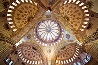 Interior view of the main domes of the Blue mosque in Istanbul, Turkey
