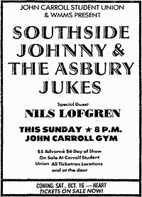 Print ad for Southside Johnny rock concert featuring Lofgren as guest