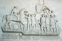 Mormon Battalion monument, Fort Moore Pioneer Monument (1950), showing raising the U.S. flag in Los Angeles, 1847