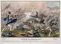 Battle of Churubusco by J. Cameron, published by Nathaniel Currier. Hand tinted lithograph, 1847. Digitally restored.
