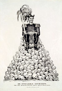 """""""An Available Candidate: The One Qualification for a Whig President."""" Political cartoon about the 1848 presidential election, referring to Zachary Taylor or Winfield Scott, the two leading contenders for the Whig Party nomination in the aftermath of the Mexican–American War. Published by Nathaniel Currier in 1848, digitally restored."""