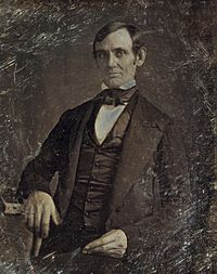 Abraham Lincoln in his late 30s as a Whig member of the U.S. House of Representatives, when he opposed the Mexican–American War. Photo taken by one of Lincoln's law students around 1846.