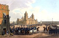 U.S. Army occupation of Mexico City in 1847. The U.S. flag flying over the National Palace, the seat of the Mexican government. Carl Nebel.