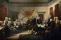 John Trumbull's Declaration of Independence imagines the drafting committee presenting its work to the Congress