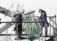 Antoine Lavoisier conducting an experiment related to combustion generated by amplified sun light