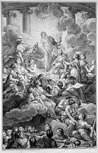 """If there is something you know, communicate it. If there is something you don't know, search for it.<div style=""""text-align:right;"""">— An engraving from the 1772 edition of the Encyclopédie; Truth, in the top center, is surrounded by light and unveiled by the figures to the right, Philosophy and Reason"""