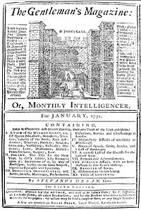 Front page of The Gentleman's Magazine, January 1731