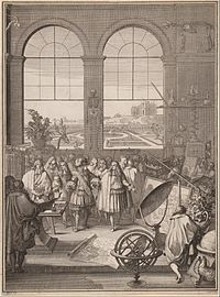 """Louis XIV visiting the Académie des sciences in 1671: """"It is widely accepted that 'modern science' arose in the Europe of the 17th century, introducing a new understanding of the natural world"""" — Peter Barrett"""
