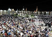 Iftar serving for fasting people in the Imam Reza shrine