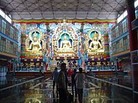 Inside the Golden Temple at Bylakuppe
