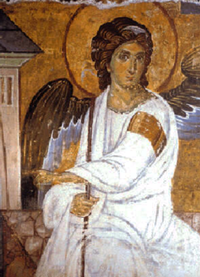 The White Angel (1235) fresco from Mileševa monastery; sent as a message in the first satellite broadcast signal from Europe to America, as a symbol of peace and civilisation