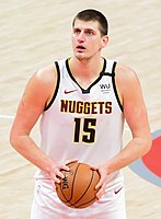 Nikola Jokić, two-time NBA All-Star and 2018–19 All-NBA First team. Serbia is one of the countries with the largest number of NBA players and with the greatest success in FIBA international competitions.
