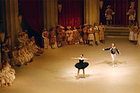 The scene from the ballet Swan Lake in which the Black Swan (Odile) tricks and seduces the Prince