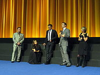 Black Swan cast and crew (from left to right: producer Scott Franklin, actress Mila Kunis, actor Vincent Cassel, director Darren Aronofsky) discuss the film with Sandra Hebron at the BFI London Film Festival, where it was nominated for Best Film