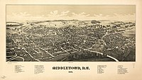 Perspective map of Middleton from 1887 with list of landmarks by L.R. Burleigh