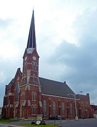 The First Congregational Church, built in 1872, has the tallest spire downtown