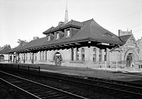 The Erie Railroad's Middletown Station in 1971, now Thrall Library