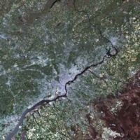 Landsat simulated-color image of Philadelphia and the Delaware River