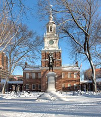 Independence Hall, where the Declaration of Independence and the Constitution were adopted