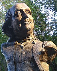 Keys To Community, a bust of Ben Franklin by James Peniston, 2007