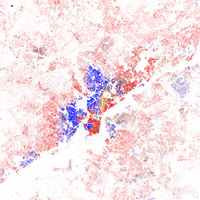 Map of racial distribution in Philadelphia, 2010 Census. Each dot is 25 people: White, Black, Asian , Hispanic , or Other.