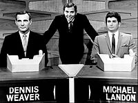 Gene Rayburn (center) hosting a prime-time Match Game special episode, 1964