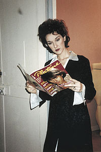 Celine Dion reading a magazine in 1994.