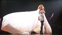 "Céline Dion on stage performing ""Eyes On Me"" during her Taking Chances Tour in Montréal, Canada in August 2008"