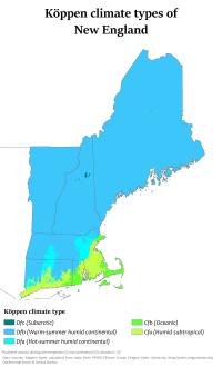 Köppen climate types in New England