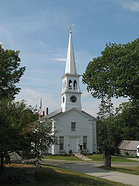 A classic New England Congregational church in Peacham, Vermont