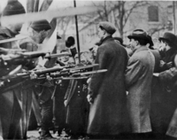 Bread and Roses Strike. Massachusetts National Guard troops surround unarmed strikers in Lawrence, Massachusetts, 1912.