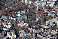 New England is home to four of the eight Ivy League universities. Pictured here is Harvard Yard of Harvard University.