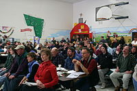 A New England town meeting in Huntington, Vermont