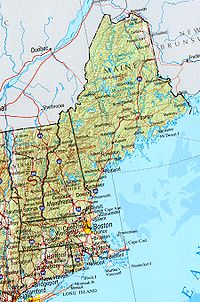 A political and geographical map of New England shows the coastal plains in the southeast, and hills, mountains and valleys in the west and the north.