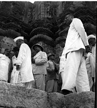 K. M. Munshi with archaeologists and engineers of the Government of India, Bombay, and Saurashtra, with the ruins of Somnath Temple in the background, July 1950.