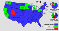 Electoral vote by state, 1912. States won by Taft are in red.