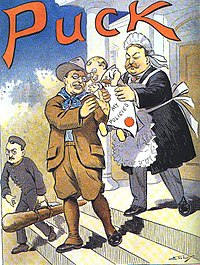1909 Puck magazine cover: Roosevelt departs, entrusting his policies to Taft