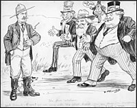 Newton McConnell cartoon showing Canadian suspicions that Taft and others were only interested in Canada when prosperous.