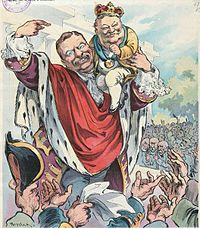 Roosevelt introduces Taft as his crown prince: Puck magazine cover, 1906.