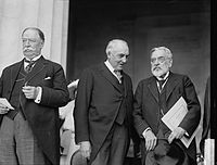 Taft (left) with President Warren G. Harding and Robert Lincoln at the dedication of the Lincoln Memorial, May 30, 1922