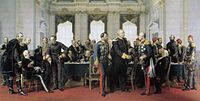 Anton von Werner, At the Congress of Berlin (1878) the tall Bismarck on the right is shaking hands with Gyula Andrássy and Pyotr Andreyevich Shuvalov; on the left are Alajos Károlyi, Alexander Gorchakov and Benjamin Disraeli