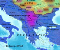 The Balkans c. 400 AD, at time of Hunnic Empire.