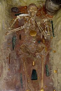 A burial at Varna, Bulgaria, with some of the world's oldest gold jewelry.