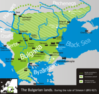 The First Bulgarian Empire's greatest territorial extent during the reign of Simeon I.