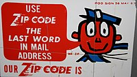A 1963 U.S. Post Office sign featuring Mr. ZIP