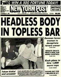 One of the paper's most famous headlines, from the edition of April 15, 1983