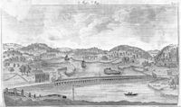 """1790 bird's-eye view from Bunker Hill of the """"Malden Bridge"""" across the Mystic River, with Medford in the background."""